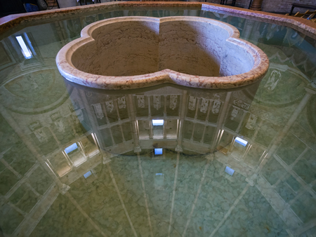 pool halls: PARMA, ITALY - NOVEMBER 3, 2012: font in baptistery of Parma city. Construtrion of Baptistery began in 1196 by Antelami.