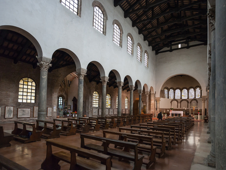 RAVENNA, ITALY - NOVEMBER 4, 2012: interior of basilica San Giovanni Evangelista in Ravenna city. Church was built in the fifth century AD by the Roman imperial princess Galla Placidia