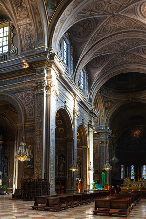 FERRARA, ITALY - NOVEMBER 6, 2012: interior of Duomo Cathedral in Ferrara city. Construction of present building began in the 12th century and the cathedral was consecrated in 1135 Editorial