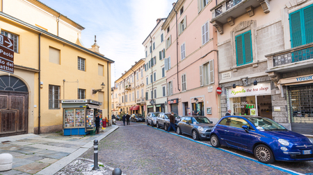 cavour: PARMA, ITALY - NOVEMBER 3, 2012: people on street Strada Cavour in Parma city in autumn morning. Strada Cavour is the street in central historical district of town. Editorial