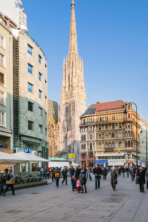 stephansplatz: VIENNA, AUSTRIA - MARCH 9, 2011: tourists near Stephansdom on Stephansplatz in Vienna city in spring. Stephansplatz is a square at the geographical centre of old town Editorial