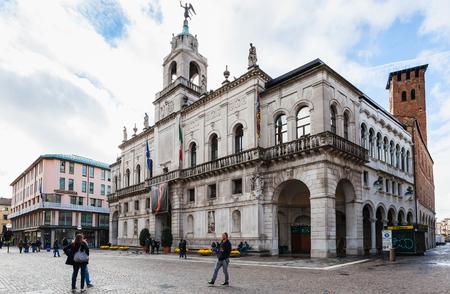 PADUA, ITALY - NOVEMBER 1, 2012: people near Palazzo Moroni, Municipality of Padua city. The City Hall was designed by Romeo Moretti and Giambattista Scarpari in 1919