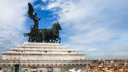 ROME, ITALY - DECEMBER 19, 2010: quadriga on top of Altare della Patria (National Monument to Victor Emmanuel II) in Rome city. Monument built in honor of Victor Emmanuel, first king of unified Italy Editorial