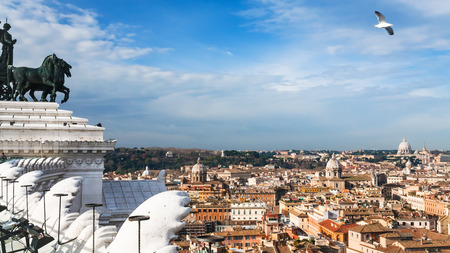 ROME, ITALY - DECEMBER 19, 2010: view of Rome city from Altare della Patria (National Monument to Victor Emmanuel II). Monument built in honor of Victor Emmanuel, first king of unified Italy