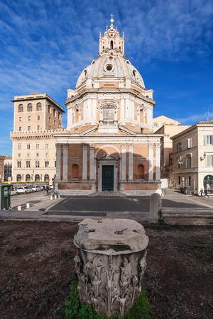 ROME, ITALY - DECEMBER 19, 2010: view of Piazza Foro Traiana and Church Santa Maria di Loreto in Rome city in winter. Construction of this church began in 1507 by Antonio da Sangallo the younger