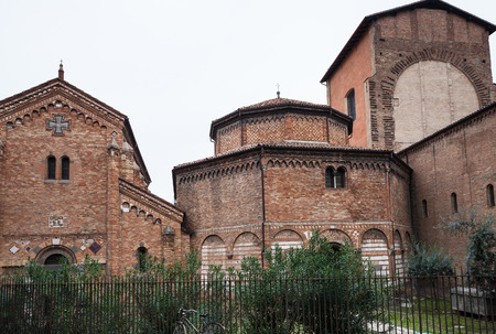 travel to Italy - churches of historical complex of basilica of Santo Stefano in Abbey Santo Stefano in Bologna city.