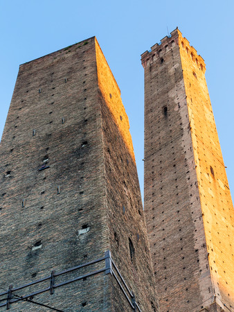 torri: travel to Italy - Two Towers (Due Torri) in Bologna city Stock Photo