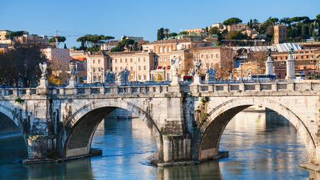 pons: Travel to Italy - St Angel Bridge (Ponte Sant Angelo, Aelian Bridge, Pons Aelius) on Tiber river in Rome city in winter