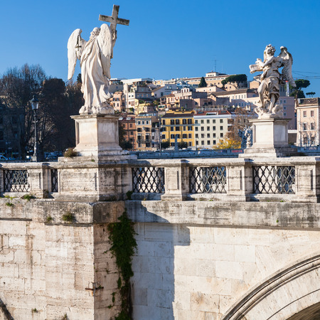 pons: Travel to Italy - Angel statues on St Angel Bridge (Ponte Sant Angelo, Aelian Bridge, Pons Aelius) on Tiber river in Rome city in winter