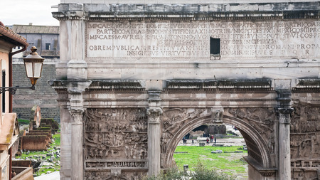 severus: Travel to Italy - marble Arch of Septimius Severus in Roman Forum in Rome city in winter Stock Photo