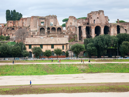 palatine: Travel to Italy - ruin of palace Domus Severiana and Circus Maximus on Palatine hill in Rome city in winter