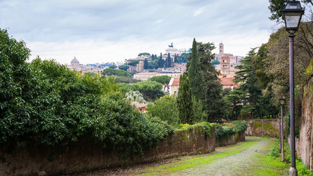 altar of fatherland: Travel to Italy - view of Rome city with monument vittorio emanuele ii on Capitoline hill from Aventine Hill in Rome city in winter