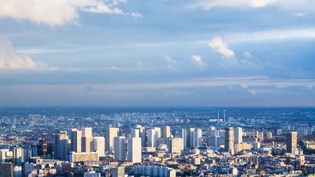 residential area: travel to France - skyline of modern Paris city in winter twilight from Tour Maine - Montparnasse (Montparnasse Tower)