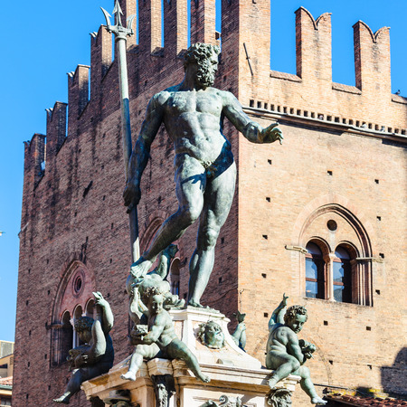 travel to Italy - Statue of Neptune in Bologna city in sunny day Stock Photo