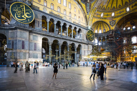 ISTANBUL, TURKEY - SEPTEMBER 10, 2010: nave of ancient basilica Hagia Sophia. For almost 500 years the principal mosque of Istanbul, Aya Sofia served as model for many other Ottoman mosques