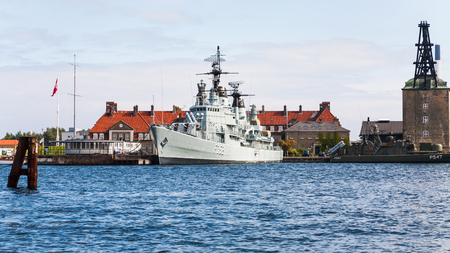 commissioned: COPENHAGEN, DENMARK - SEPTEMBER 10, 2011: museum on frigate PEDER SKRAM in Copenhagen harbour. This warship was launched May 2,1965, commissioned May 25,1966 and decommissioned July 5,1990 Editorial