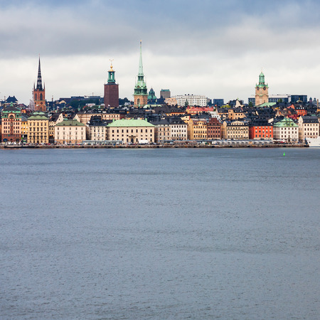 view of Stockholm city (Galma Stan) from sea in cloudy autumn day