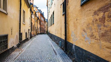 priests: pedestrian street Prastgatan (Priests street) in Old Town Galma Stan in Stockholm city