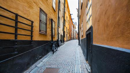 priests: view of street Prastgatan (Priests street) in Old Town Galma Stan in Stockholm city