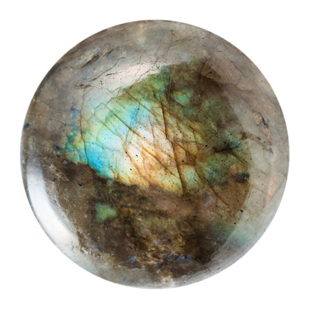 cabochon: macro shooting of geological collection mineral - polished labradorite gem isolated on white background
