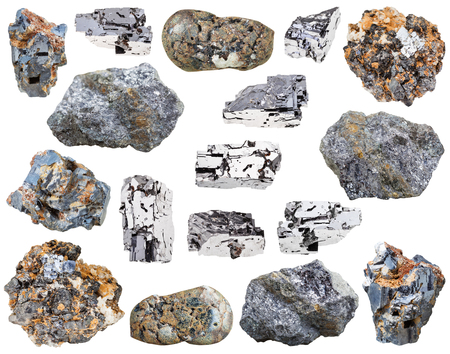 sphalerite: collection of various galena (galenite, lead glance) mineral stones isolated on white background Stock Photo