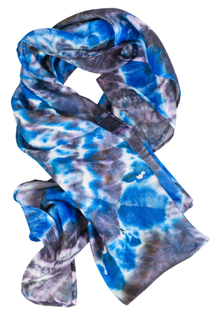 wrapped silk scarf with abstract blue pattern hand painted in nodular technique isolated on white background
