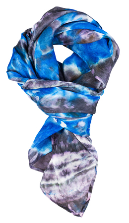 hued: knotted silk scarf with abstract blue pattern hand painted in nodular technique isolated on white background