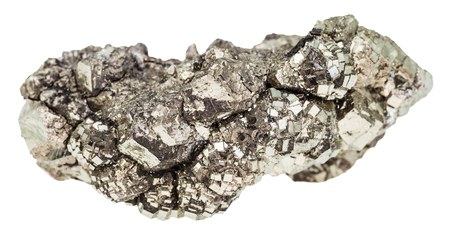 gemmology: macro shooting of geological collection mineral - specimen of marcasite stone (white iron pyrite) isolated on white background Stock Photo