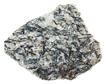 지질 컬렉션의 매크로 촬영 미네랄 - lujaurite (lujavrite, nepheline syenite)의 표본 흰색 배경에 고립 된 돌