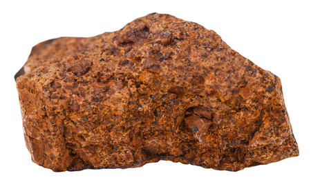 地質コレクション鉱物 - 褐鉄鉱石 (黒い鉱石、茶色の鉄鉱石、沼鉄鉱石) の供試体の白い背景で隔離のマクロ撮影