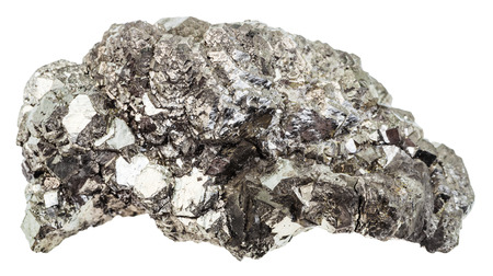 gemological: macro shooting of geological collection mineral - natural marcasite stone (white iron pyrite) isolated on white background