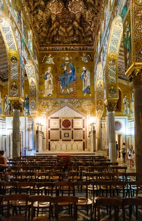 PALERMO, ITALY - JUNE 24, 2011: decoration of Capella Palantina (Palatine Chapel) in Palazzo dei Normanni in Palermo. Royal Palace was the seat of the Kings of Sicily during the Norman domination