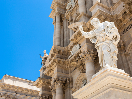 Italy - Saint Paul Apostle statue near Cathedral of Syracuse in Sicily