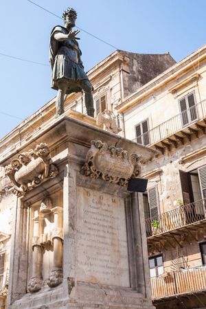 Italy - monument of Charles V spanish king of Sicily in Palermo city