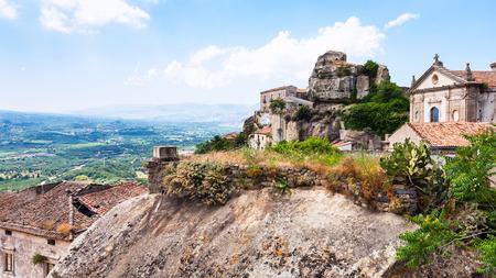 catena: Italy - view of Lauria Castle (Castello di Lauria, Castle of Roger of Lauria) and Basilica della Madonna della Catena in Castiglione di Sicilia town in Sicily