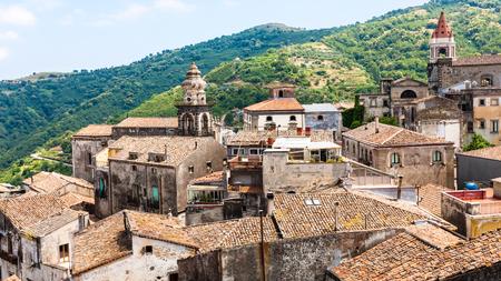 Italy - houses and churches in Castiglione di Sicilia town in Sicily Stock Photo