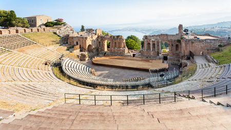 Italy - above view of ancient Teatro Greco (Greek Theatre) in Taormina city in Sicily Stock Photo