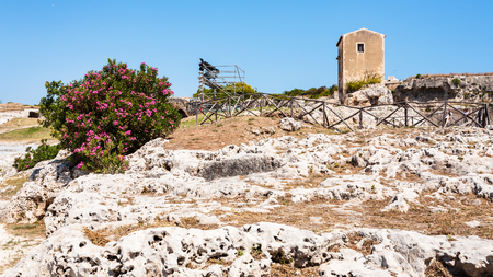 Italy - Archaeological Park (Parco Archeologico della Neapolis) of Syracuse city in Sicily Stock Photo