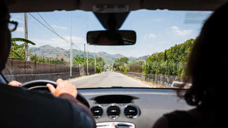 region sicilian: Italy - driving a car in country region in Sicily