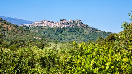 Italy - view of Castiglione di Sicilia town on hill in Sicily