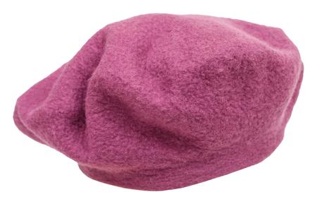 handmade felt beret isolated on white background