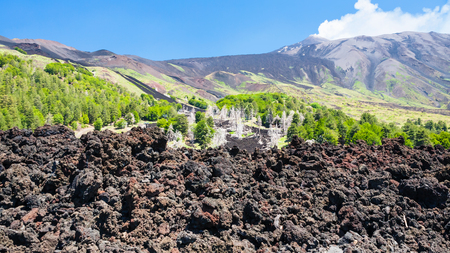 Italy - hardened lava flow on slope of Etna volcano in Sicily Stock Photo