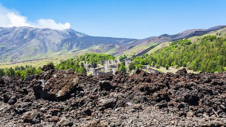 Italy - petrified lava on slope of Etna volcano in Sicily