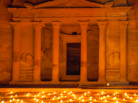 1st century ad: PETRA, JORDAN - FEBRUARY 20, 2012: night beoduin performance in front of Al-Khazneh (The Treasury) Temple in Petra. Al-Khazneh was built as mausoleum and crypt at the beginning of the 1st century AD Editorial