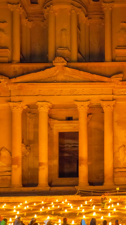 khazneh: PETRA, JORDAN - FEBRUARY 20, 2012: people on night beoduin performance in front of Al-Khazneh Temple in Petra. Al-Khazneh was built as mausoleum and crypt at the beginning of the 1st century AD Editorial