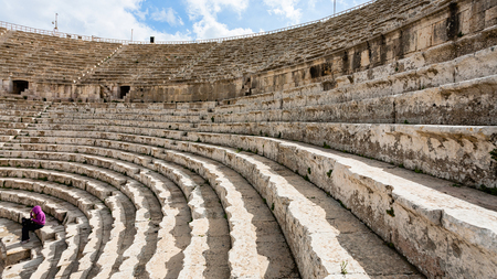 JERASH, JORDAN - FEBRUARY 18, 2012: roman Large South Theatre in in Gerasa in winter. Greco-Roman town Gerasa (Antioch on the Golden River) was founded by Alexander the Great or his general Perdiccas