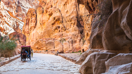PETRA, JORDAN - FEBRUARY 21, 2012: bedouin carriage in Al Siq pass to ancient Petra town in winter. Rock-cut town Petra was established about 312 BC as the capital city of the Arab Nabataean