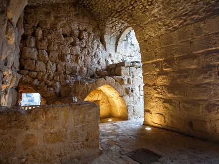 AJLOUN, JORDAN - FEBRUARY 18, 2012: interior of medieval Ajlun castle in Jordan. Ajloun Castle is Muslim castle, it was built in northwestern Jordan in 12th century