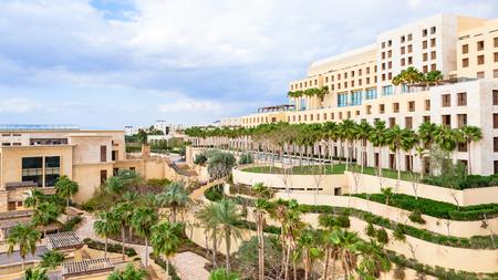 ishtar: DEAD SEA, JORDAN - FEBRUARY 19, 2012: view of Kempinski resort hotel Ishtar on Dead Sea in winter season. It is the largest spa in the region with square 10000 Sqm and best hotel Spa in Jordan