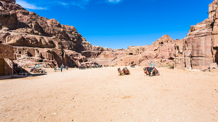 PETRA, JORDAN - FEBRUARY 21, 2012: panorama of ancient Petra town. Rock-cut town Petra was established about 312 BC as the capital city of the Arab Nabataean